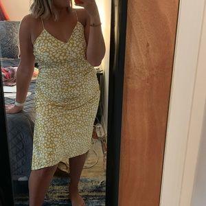 LULUS strapping yellow satin dress